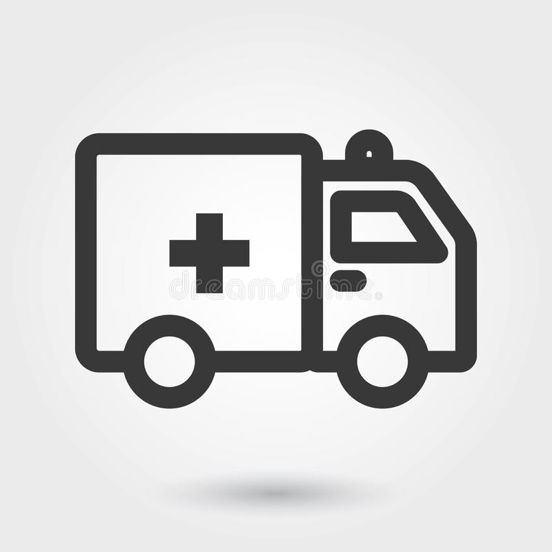 Wektorowe ikony, Ambulansowa Medyczna ikona Wypełniali linię dla jakaś zamierzają ilustracja wektor