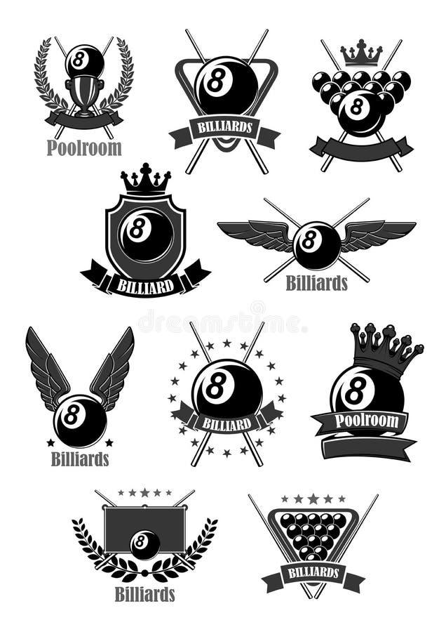 Wektorowe ikony dla billiards lub poolroom sporta gry royalty ilustracja