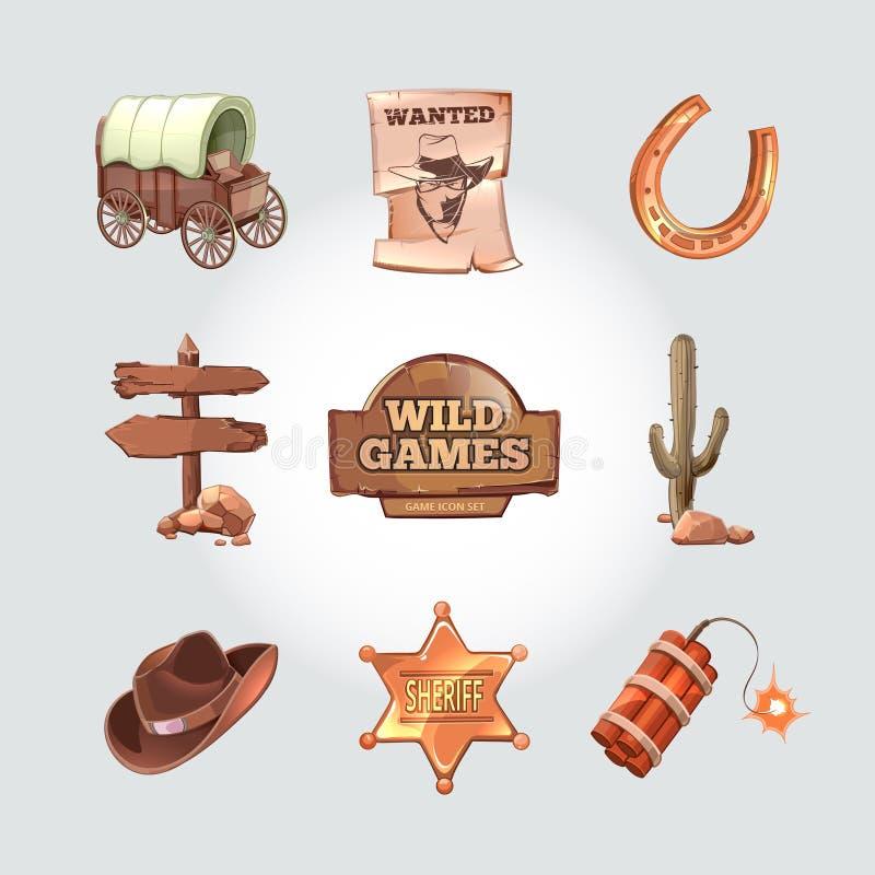 Wektorowe ikony dla Dzikiej Zachodniej gry komputerowej kowboj royalty ilustracja