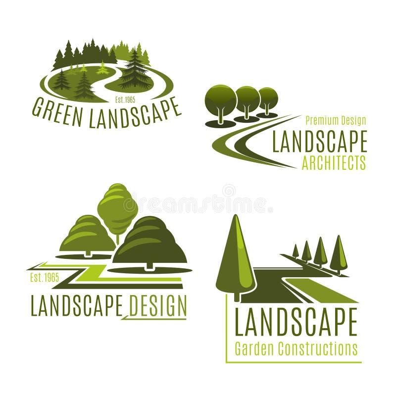 Wektorowe ikony dla natury kształtuje teren firmy royalty ilustracja