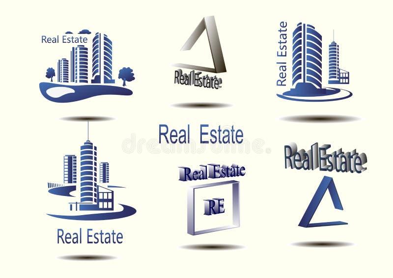 Wektorowe ikony dla nieruchomości budowy Wektorowe ikony architektura, miastowy i podmiejski stwarzają ognisko domowe ilustracji