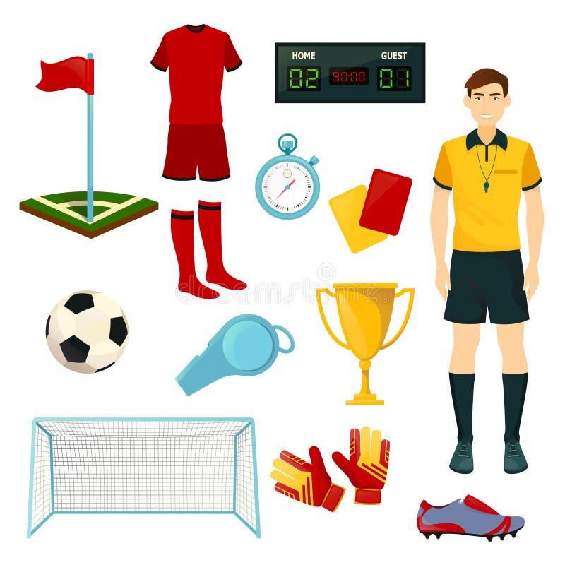 Wektorowe ikony dla piłki nożnej lub futbolowej sport gry ilustracja wektor