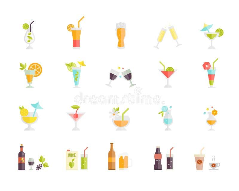 Wektorowe ikony koktajle i napoje royalty ilustracja