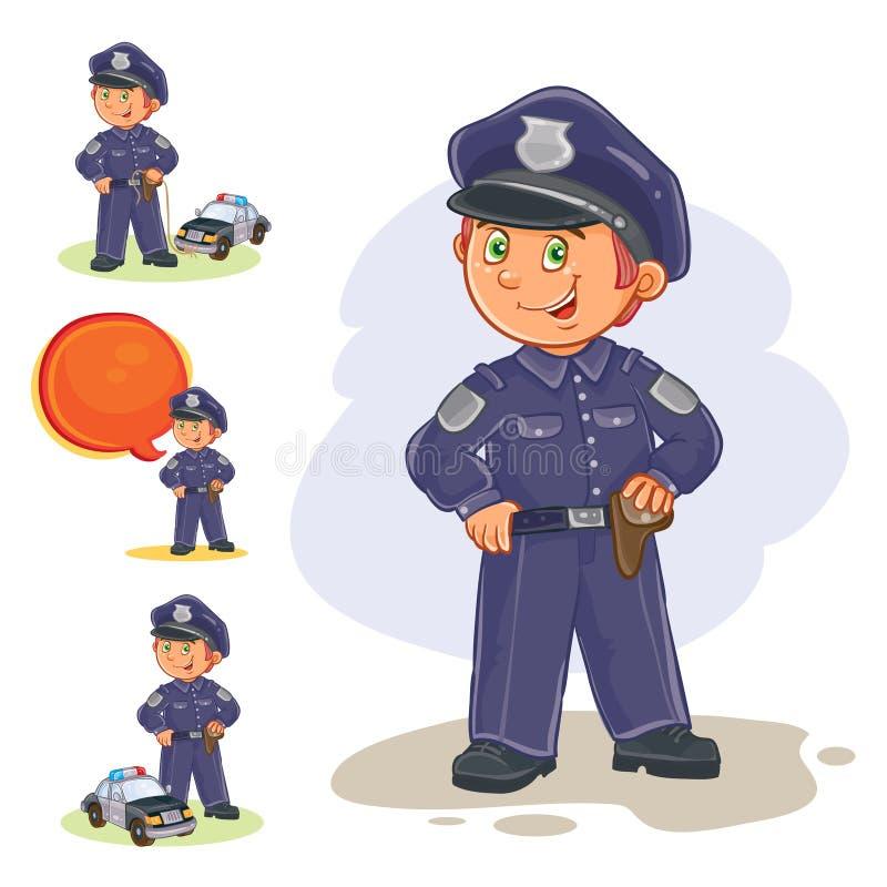 Wektorowe ikony mały dziecko policjant i jego maszyna na sznurku ilustracja wektor