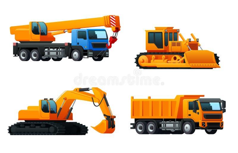 Wektorowe ikony maszyny ciężkie przemysłu ciężarówki royalty ilustracja