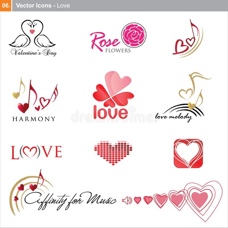 Wektorowe ikony: miłość ilustracja wektor