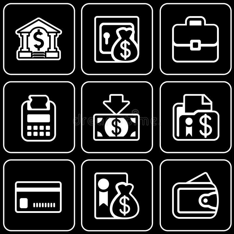 Wektorowe ikony - pieniądze, bank, biznes ilustracja wektor