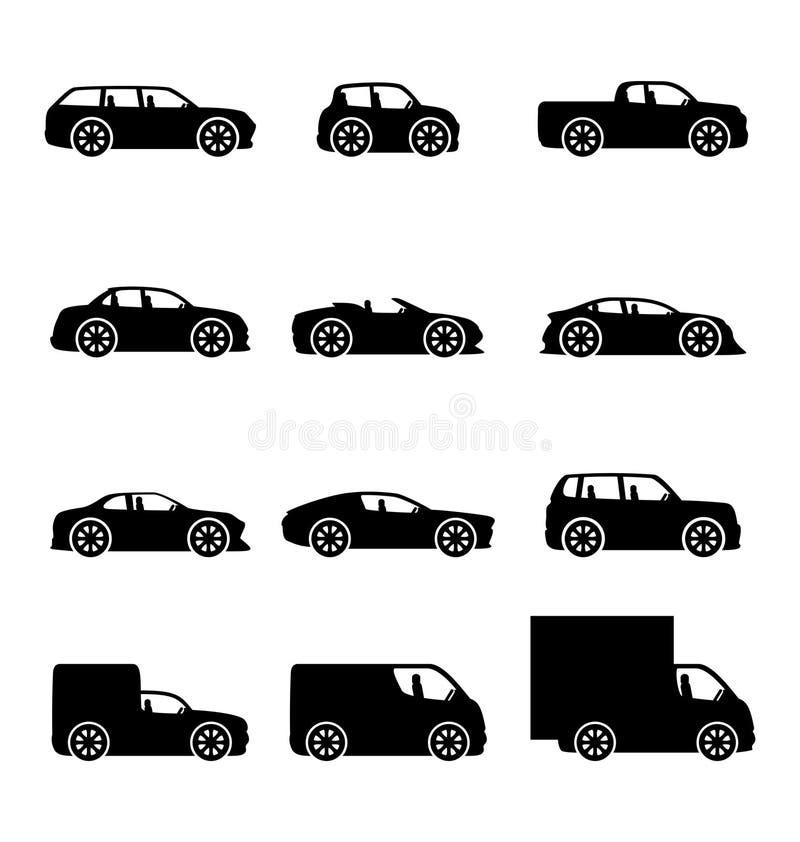 Download Wektorowe ikony samochody ilustracja wektor. Ilustracja złożonej z przejażdżka - 57650977
