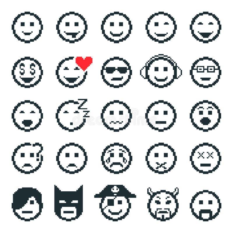 Wektorowe ikony smiley twarze sztuki ilustracji cyfrowego szczęśliwe rodziny wzoru piksla bezszwowy wektora ilustracja wektor