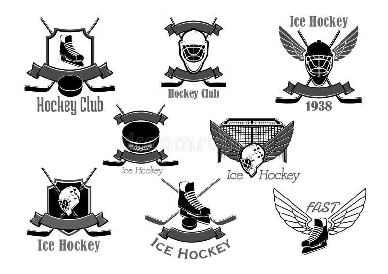 Wektorowe ikony ustawiać dla lodowego hokeja klubu royalty ilustracja