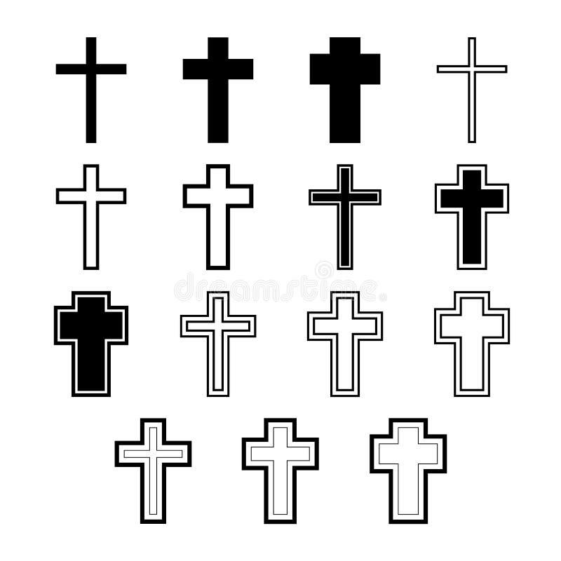 Wektorowe ikony ustawiać dla religia krzyża royalty ilustracja