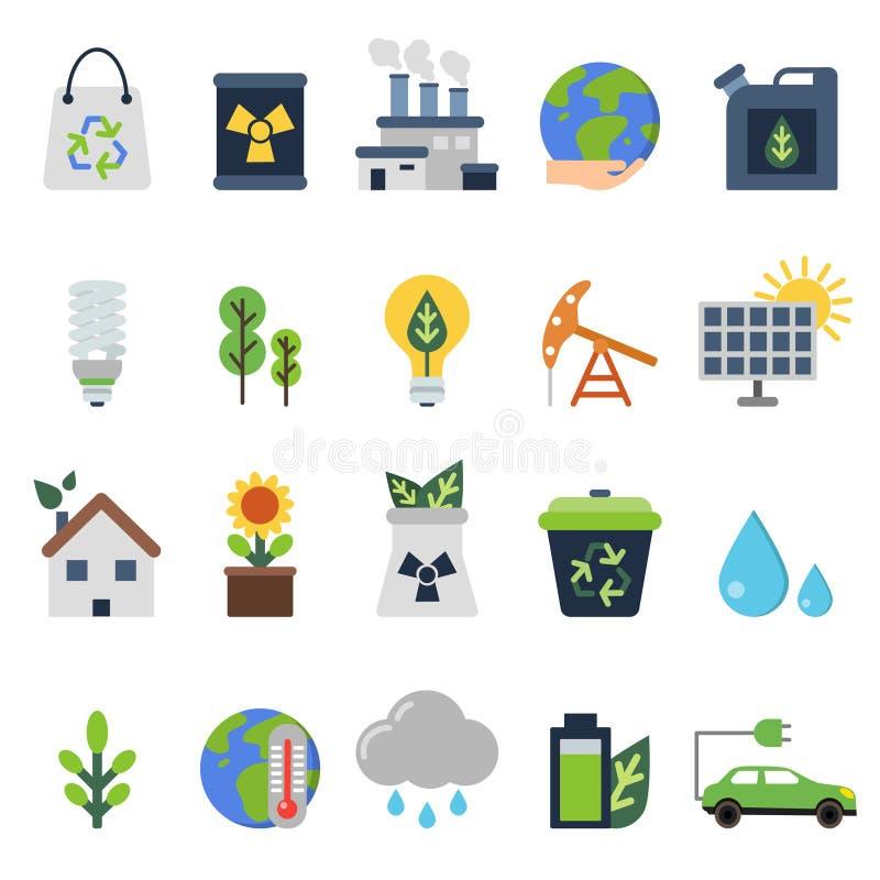 Wektorowe ikony ustawiać na ekologia temacie Zieleni życie elementy royalty ilustracja