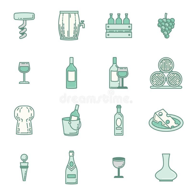 Wektorowe ikony ustawiać wino ilustracji