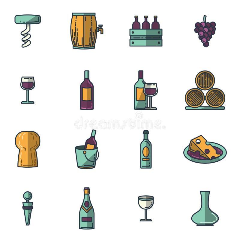 Wektorowe ikony ustawiać wino royalty ilustracja