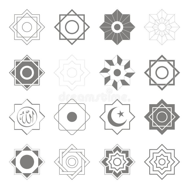 Wektorowe ikony z Islamskich symboli/lów Islamskimi gwiazdami Nacierają el Hizb ilustracji