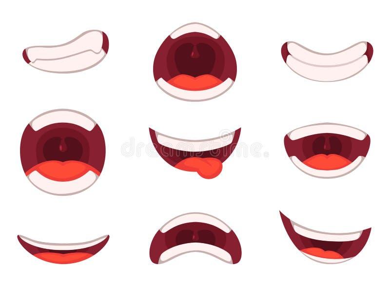 Wektorowe ilustracje śmieszny kreskówki usta z różnymi wyrażeniami ilustracja wektor
