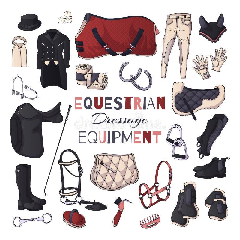 Wektorowe ilustracje na equestrian wyposa?enie temacie dressage ilustracja wektor