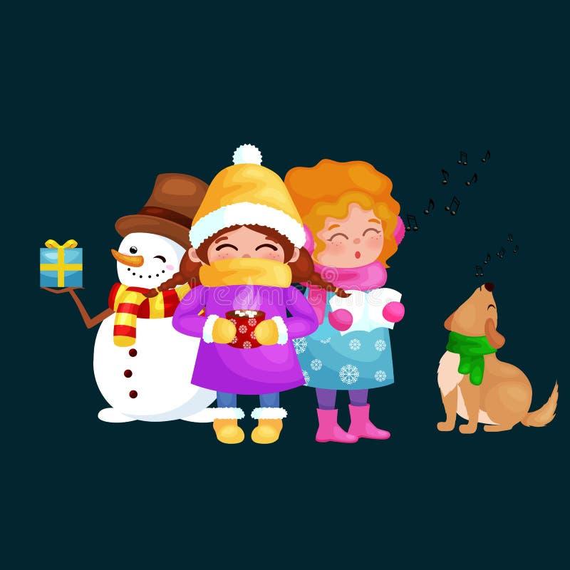 Wektorowe ilustracje ustawiają Wesoło boże narodzenia Szczęśliwy nowy rok, dziewczyna śpiewają wakacyjne piosenki royalty ilustracja