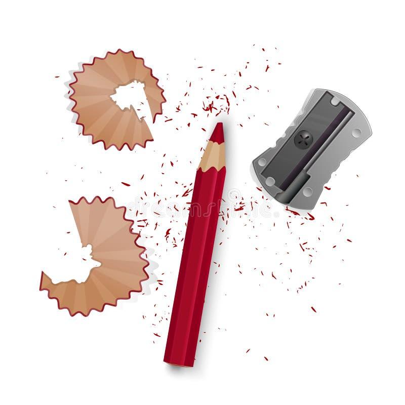 Wektorowe ilustracje w realistycznym stylu ostrzyli ołówek ostrzarka, ołówkowi golenia i grafit odizolowywający na bielu, royalty ilustracja