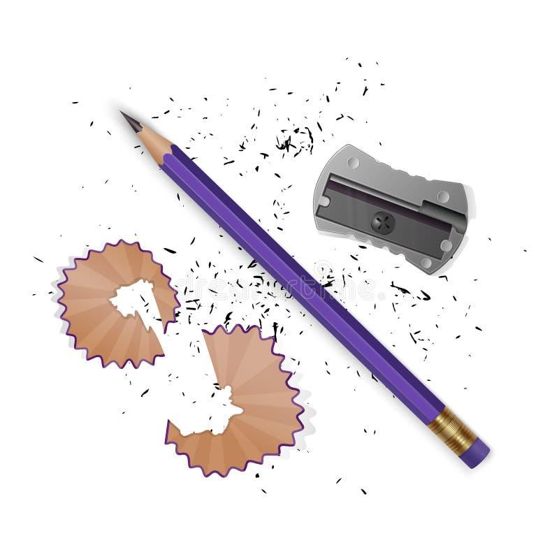 Wektorowe ilustracje w realistycznym stylu ostrzyli ołówek ostrzarka, ołówkowi golenia i grafit odizolowywający na bielu, ilustracja wektor