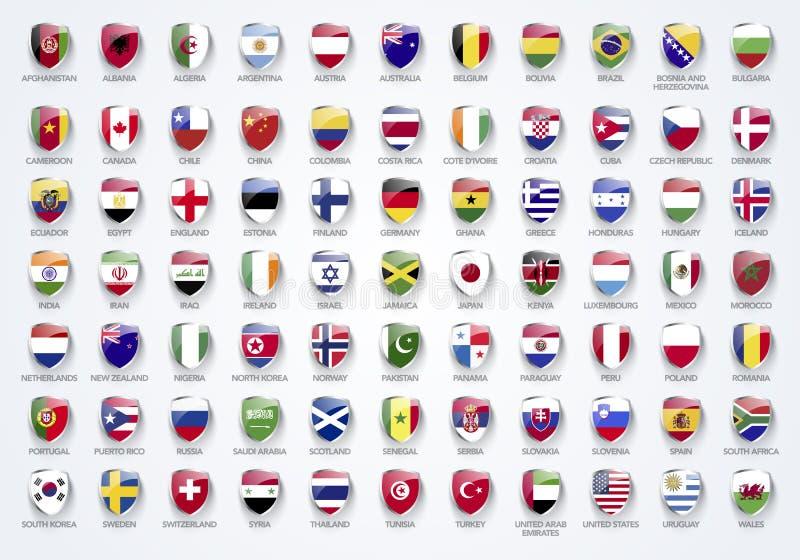 Wektorowe Ilustracyjne flaga świat w osłonie tworzą z imionami ilustracji