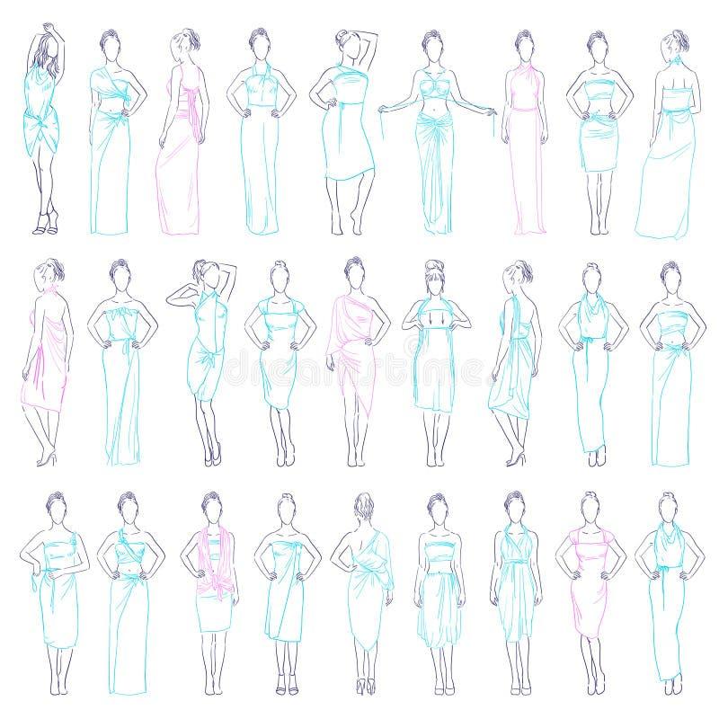 Wektorowe ilustracyjne różnorodne wieczór suknie ustawiać i przypadkowych ubrań spódnicowi sundresses modelują w różnym pozy nakr royalty ilustracja