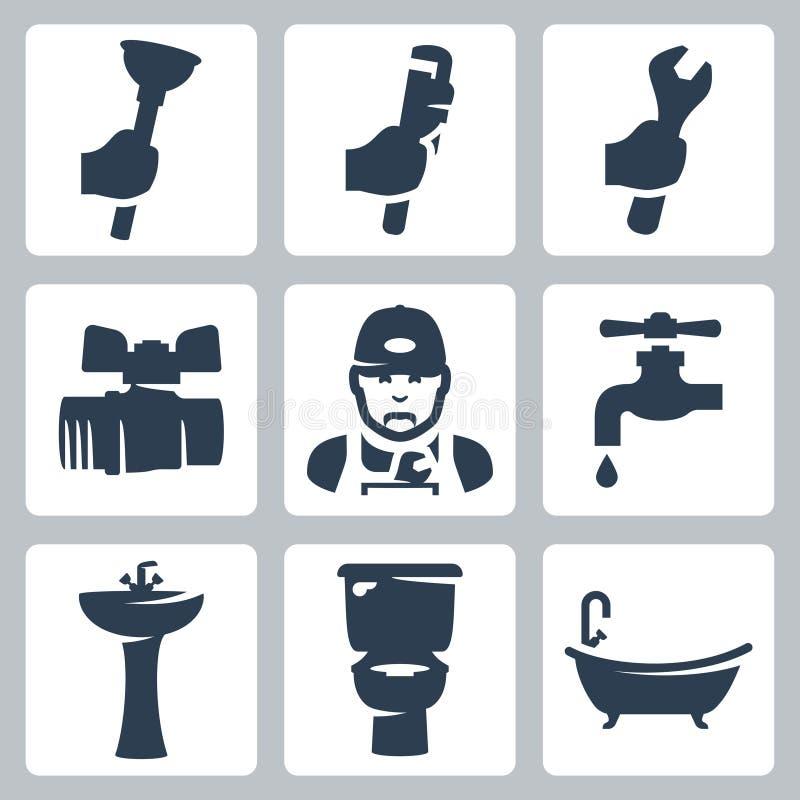Wektorowe instalacj wodnokanalizacyjnych ikony ustawiać ilustracji