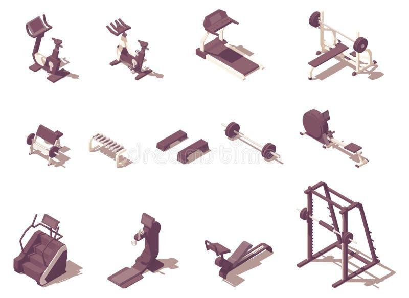 Wektorowe isometric gym ćwiczenia maszyny ustawiać royalty ilustracja