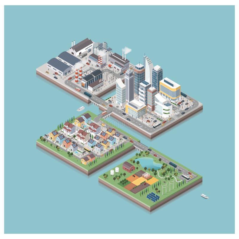 Wektorowe isometric miasto wyspy z ludźmi i pojazdami ilustracja wektor