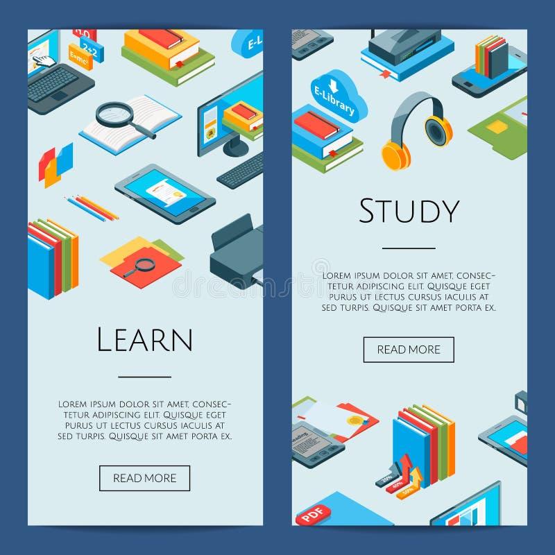 Wektorowe isometric online edukacj ikony 3d studiowania sztandary ilustracja wektor