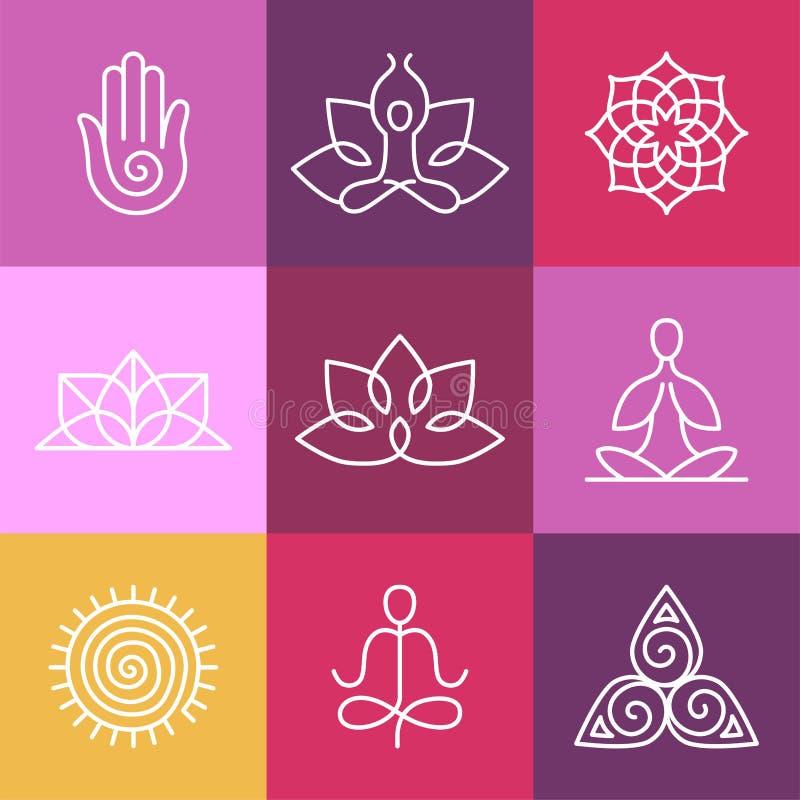 Wektorowe joga ikony i round kreskowi znaki ilustracji