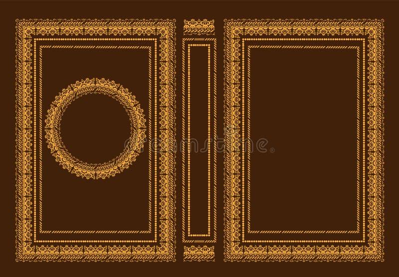 Wektorowe klasyczne książkowe pokrywy Dekoracyjna antyk rama lub rama dla drukować na książkowych pokrywach Ja rysuje standardowy royalty ilustracja
