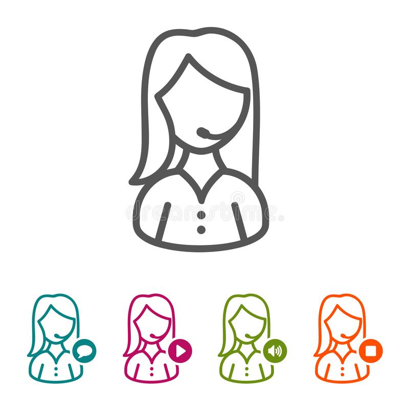 Wektorowe kobiety centrum telefonicznego operatora ikony w cienkim kreskowym stylu i płaskim projekcie ilustracja wektor
