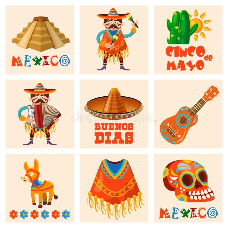 Wektorowe kolorowe karty ustawiać o Meksyk cinco de Mayo Podróż plakat z meksykańskimi rzeczami royalty ilustracja