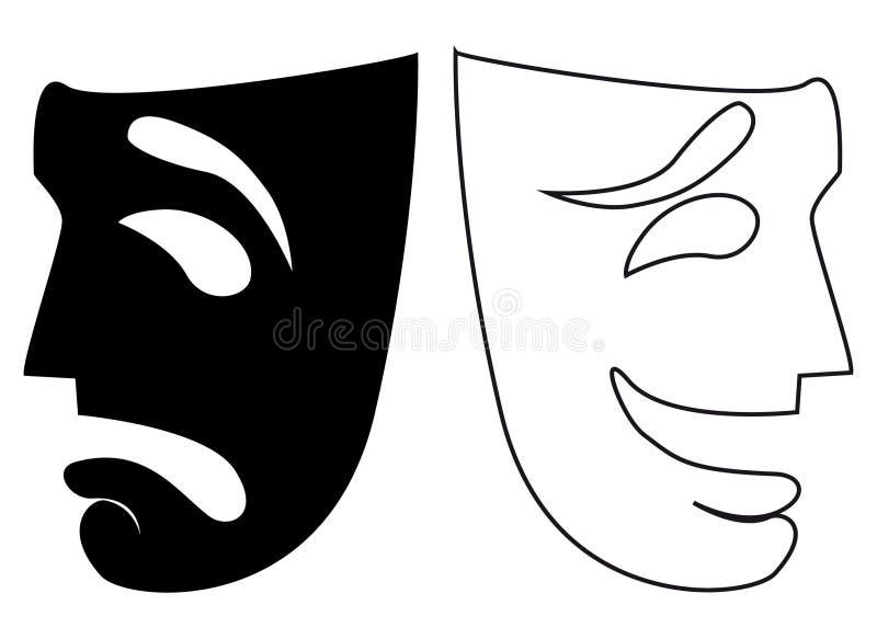 Wektorowe komedii i tragadiego maski w czarny i biały royalty ilustracja