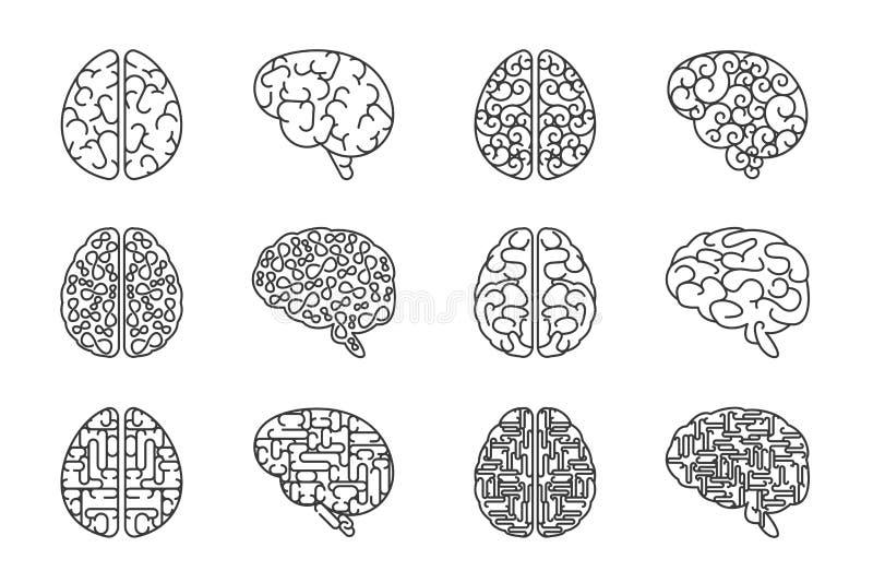 Wektorowe konturu ludzkiego mózg ikony royalty ilustracja