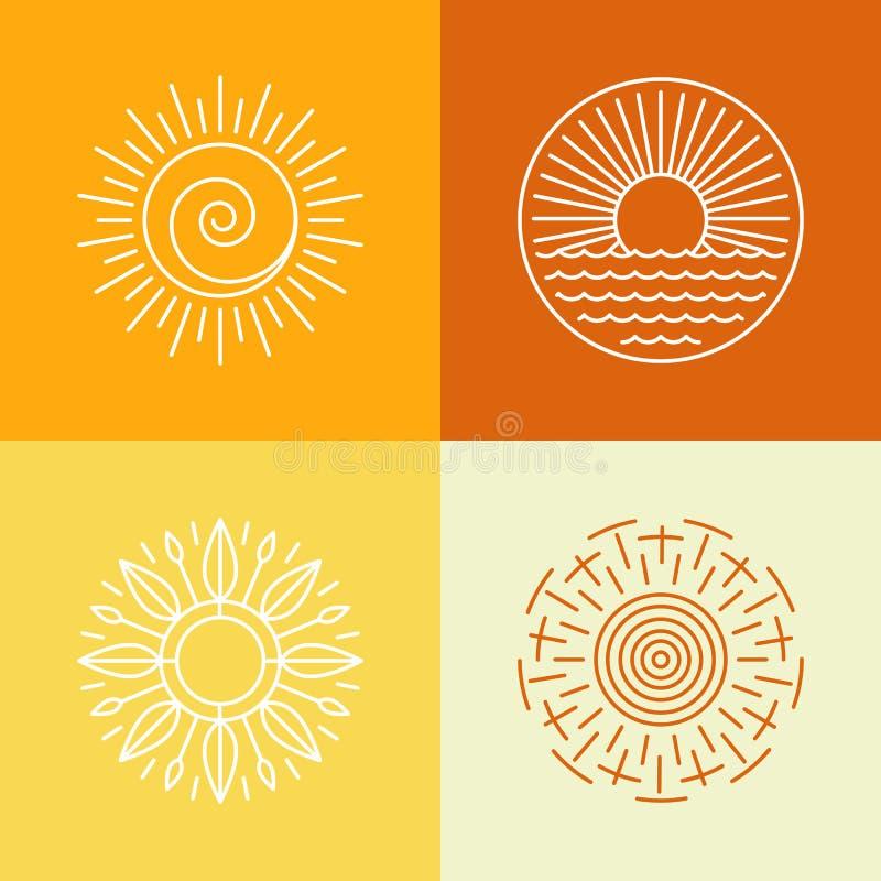 Wektorowe konturu słońca ikony i logo projektują elementy ilustracja wektor