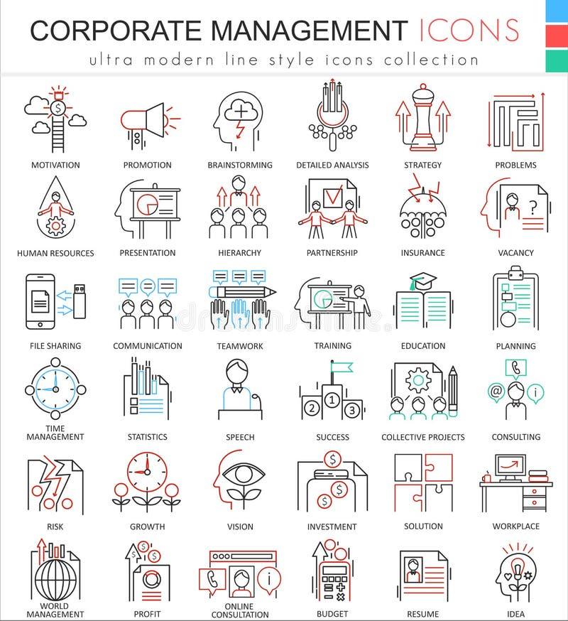 Wektorowe Korporacyjne zarządzanie koloru konturu linii ultra nowożytne ikony dla apps i sieć projekta ilustracja wektor