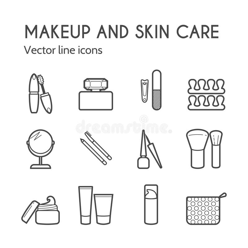 wektorowe kosmetyczne ikony Makeup ciency liniowi znaki dla manicure'u, pedicure i royalty ilustracja