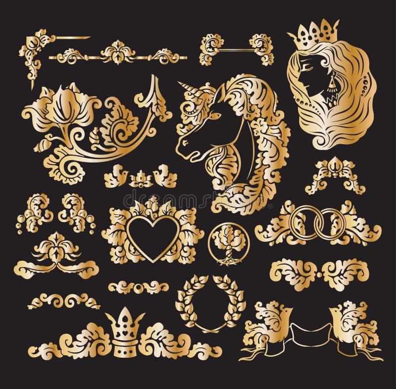 Wektorowe królewskie ślubne winiety ilustracja wektor