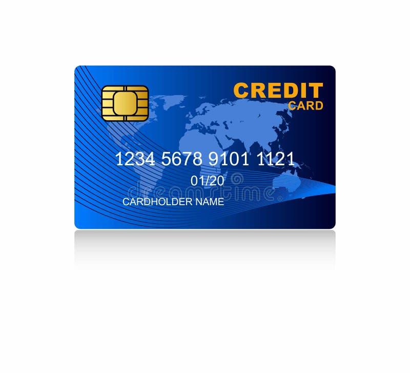 Wektorowe Kredytowe karty Błękitna kredytowa karta na białym tle ilustracja wektor