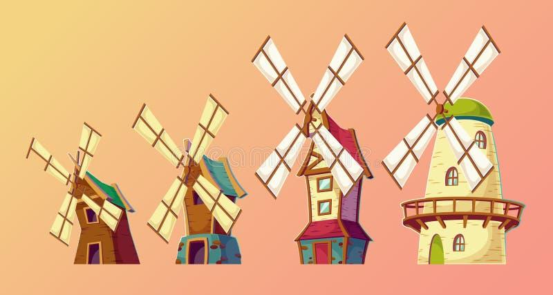 Wektorowe kreskówek ilustracje tradycyjni starzy wiatraczki ilustracji