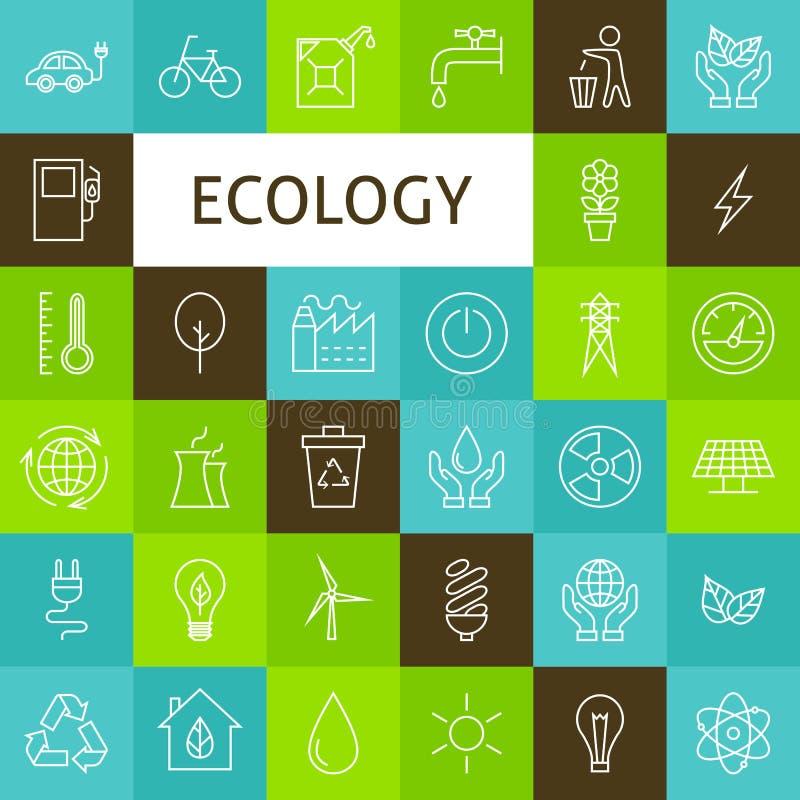 Wektorowe Kreskowej sztuki ekologii Zielonej władzy ikony Ustawiać ilustracji