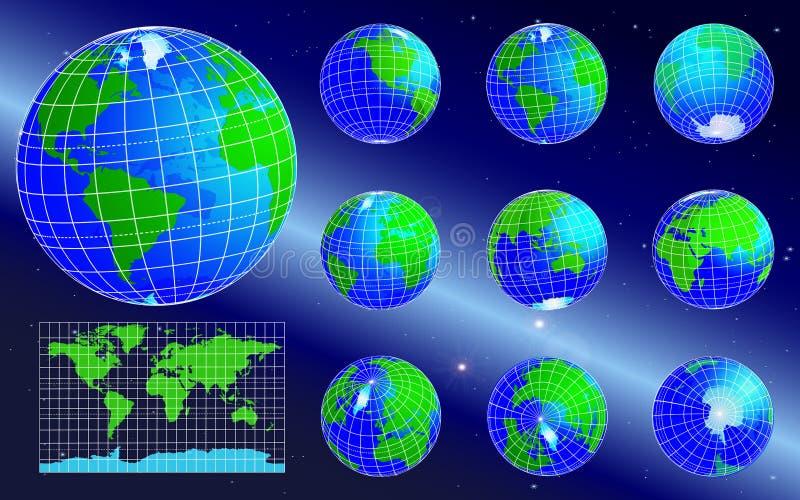 Wektorowe kul ziemskich ikony i Światowa mapa na astronautycznym tle, royalty ilustracja