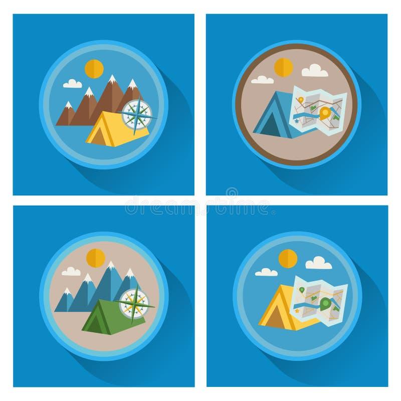 Wektorowe lato ikony Płaski projekt royalty ilustracja