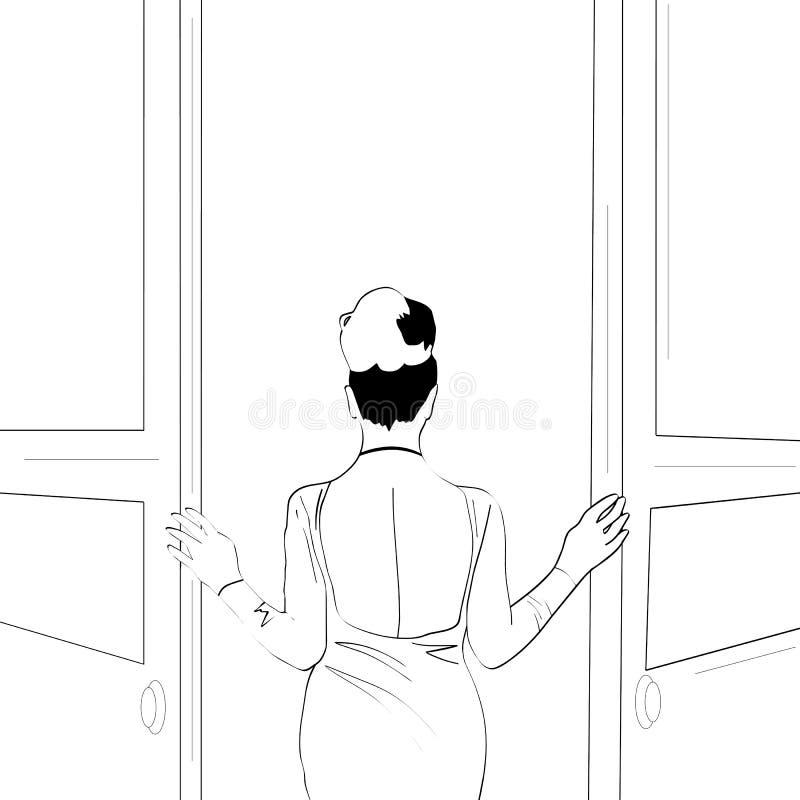 Wektorowe linie Facet trzyma prezent dla jego girlfriendVector wykłada Wspaniała dziewczyna otwiera drzwi royalty ilustracja
