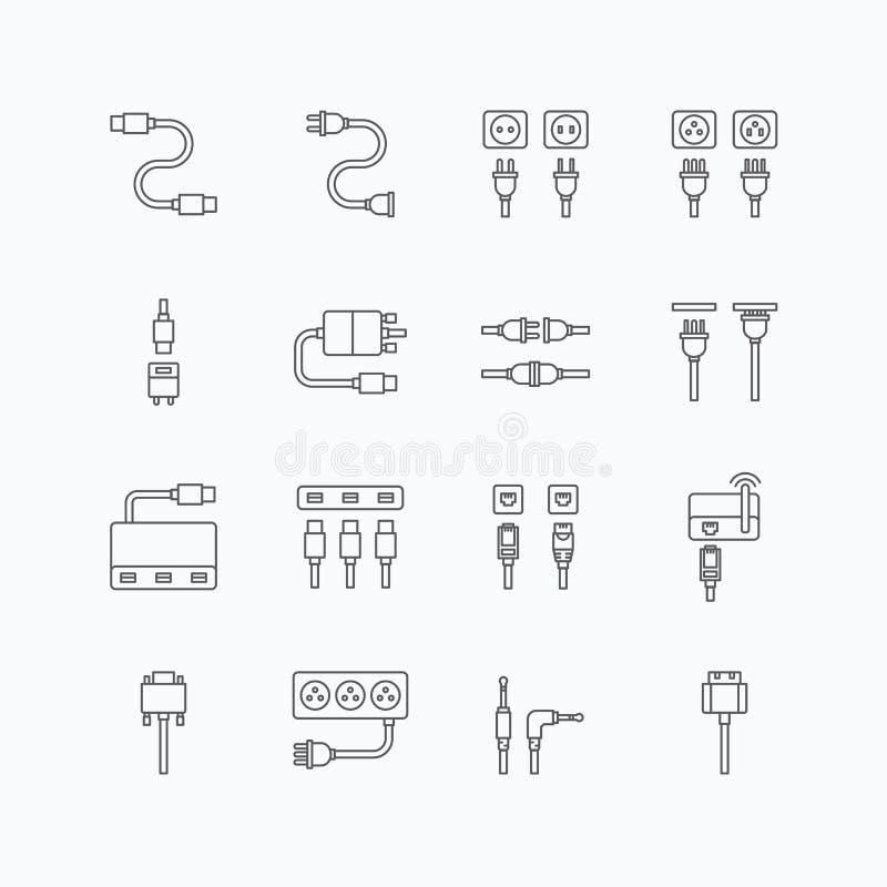 Wektorowe liniowe sieci ikony ustawiać - kablowy druciany komputer royalty ilustracja