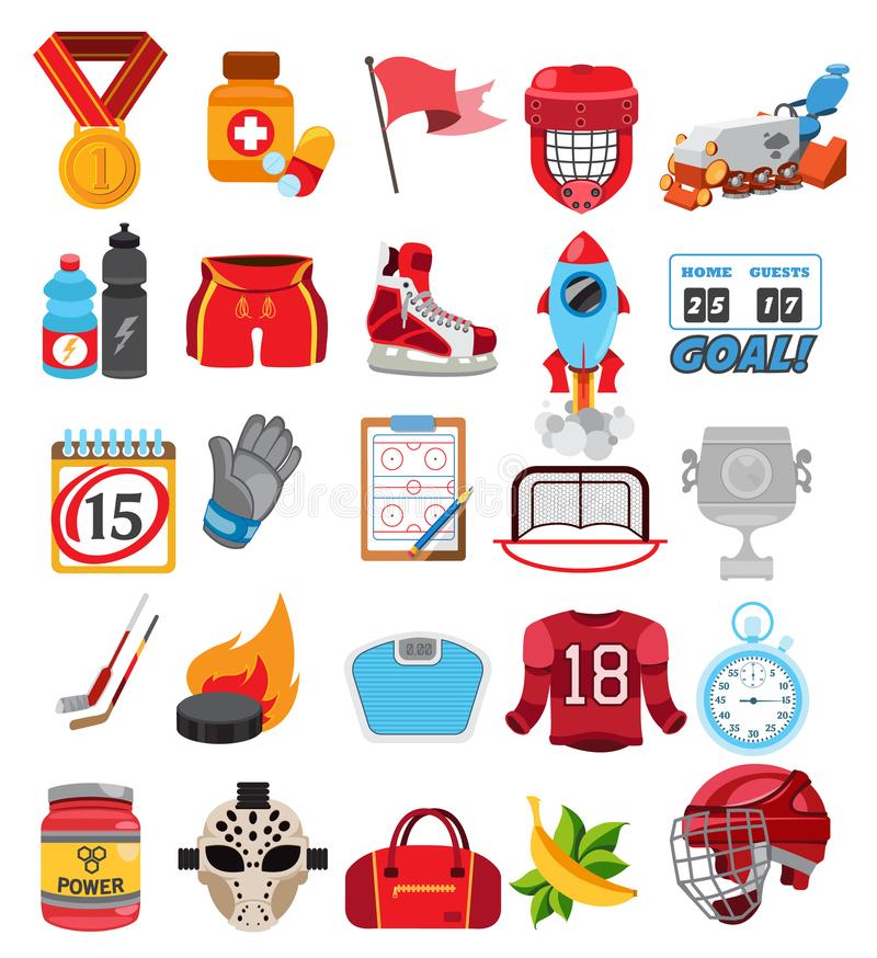 Wektorowe lodowego hokeja ikony ustawiać ilustracja wektor