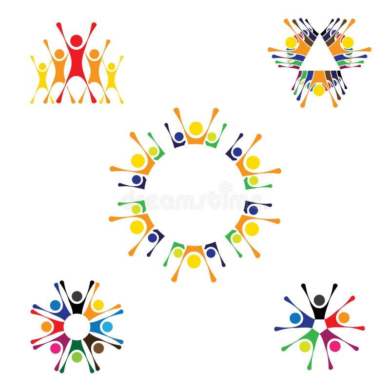 Wektorowe logo ikony ludzie wpólnie - znaka jedność, partnershi ilustracja wektor