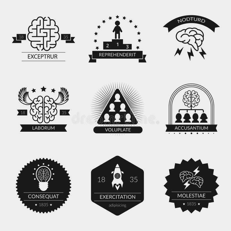 Wektorowe móżdżkowe logo twórczości i setu odznaki ilustracji